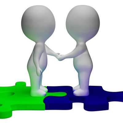 """Shaking Hands 3d Characters Shows Partners And Solidarity"" by Stuart Miles"