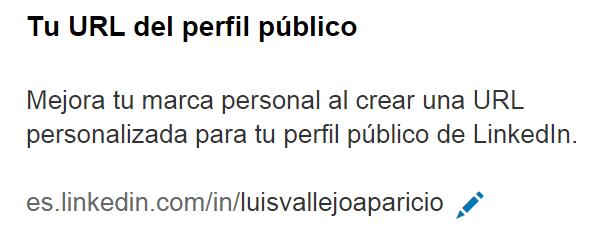 Apartado actualizar/configurar tu perfil público