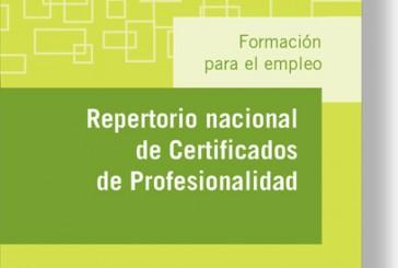 Nueva publicación «Repertorio Nacional de Certificados de Profesionalidad»