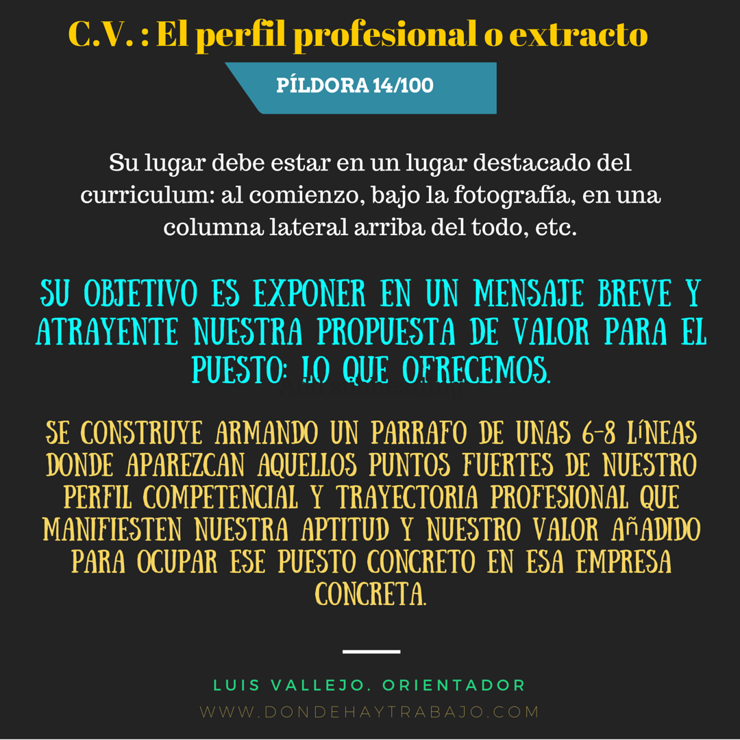 Los Cv sin Perfil profesional o Extracto son menos Cv. 14/100 ...